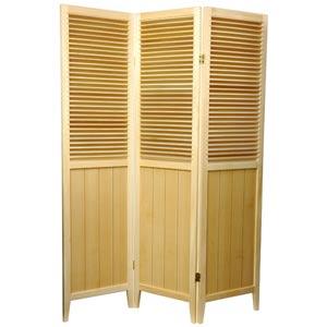 6 ft. Tall Natural Three Panel Beadboard Room Divider