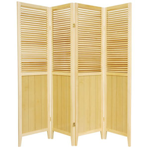 6 ft. Tall Natural Four Panel Beadboard Room Divider