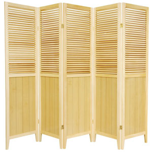 6 ft. Tall Natural Five Panel Beadboard Room Divider