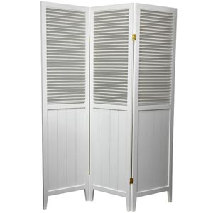 6 ft. Tall White Three Panel Beadboard Room Divider