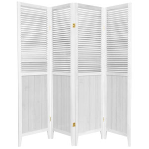 6 ft. Tall White Four Panel Beadboard Room Divider