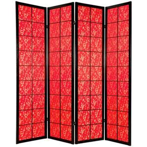 6-Foot Tall Feng Shui w/ Red Fabric Shoji - 4 Panel