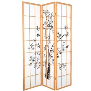 6-Foot Tall Lucky Bamboo Shoji Screen - Natural - 3 Panels