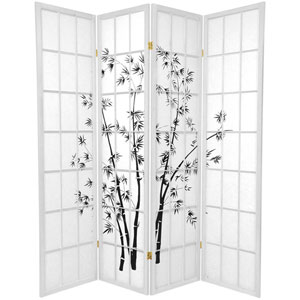 Lucky Bamboo White Four Panel, Width - 69 Inches