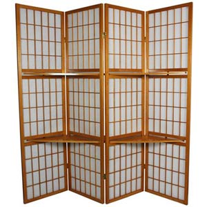Honey 6-Foot Window Pane with Shelf Room Divider