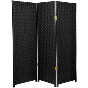 Four Ft. Tall Woven Fiber Room Divider Black Three Panel, Width - 48 Inches