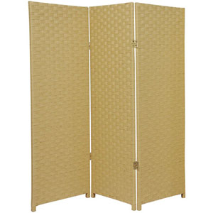 Four Ft. Tall Woven Fiber Room Divider Dark Beige Three Panel, Width - 48 Inches