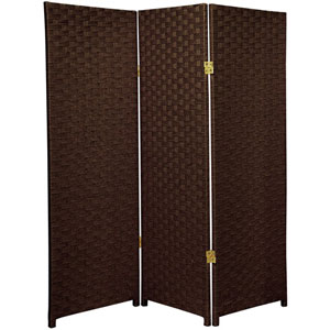 Four Ft. Tall Woven Fiber Room Divider Dark Mocha Three Panel, Width - 48 Inches