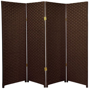 Four Ft. Tall Woven Fiber Room Divider Dark Mocha Four Panel, Width - 64 Inches