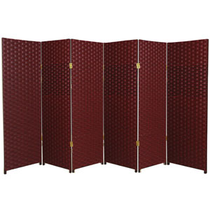 Four Ft. Tall Woven Fiber Room Divider Red/Black Six Panel, Width - 96 Inches