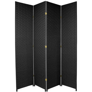 Seven Ft. Tall Woven Fiber Room Divider Black Four Panel, Width - 78 Inches