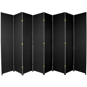 Seven Ft. Tall Woven Fiber Room Divider Black Eight Panel, Width - 158 Inches