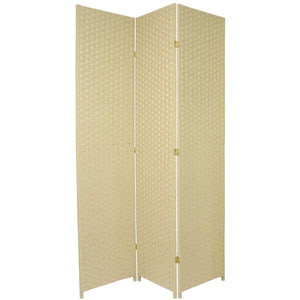 Seven Ft. Tall Woven Fiber Room Divider Cream Three Panel, Width - 58.5 Inches