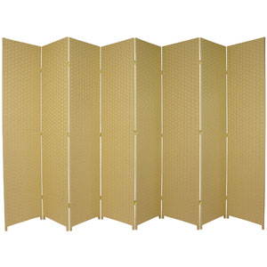 Seven Ft. Tall Woven Fiber Room Divider Dark Beige Eight Panel, Width - 158 Inches