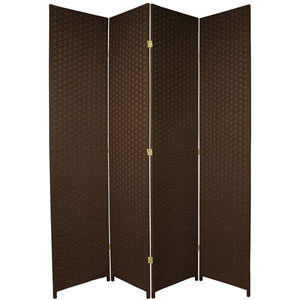 Seven Ft. Tall Woven Fiber Room Divider Dark Mocha Four Panel, Width - 78 Inches