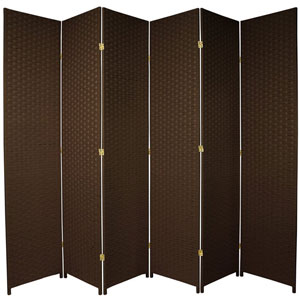 Seven Ft. Tall Woven Fiber Room Divider Dark Mocha Six Panel, Width - 158 Inches