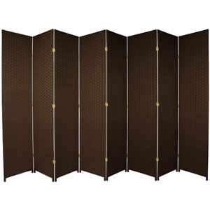 Seven Ft. Tall Woven Fiber Room Divider Dark Mocha Eight Panel, Width - 158 Inches