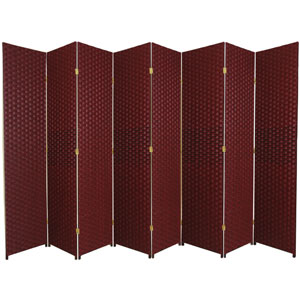 Seven Ft. Tall Woven Fiber Room Divider Red/Black Eight Panel, Width - 158 Inches