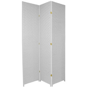 Seven Ft. Tall Woven Fiber Room Divider White Three Panel, Width - 58.5 Inches