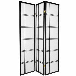 6-Foot Tall Double Cross Shoji Screen - Black - 3 Panels