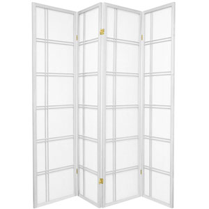 6 ft. Tall Double Cross Shoji Screen - White - 4 Panels