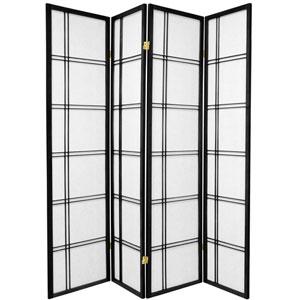 6-Foot Tall Double Cross Shoji Screen - Black - 4 Panels