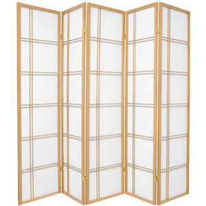 6-Foot Tall Double Cross Shoji Screen - Natural - 5 Panels