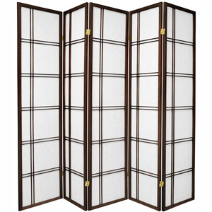 6-Foot Tall Double Cross Shoji Screen - Walnut - 5 Panels