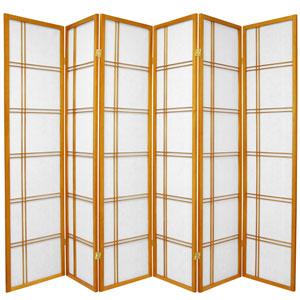 6-Foot Tall Double Cross Shoji Screen - Honey - 6 Panels