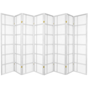 6-Foot Tall Double Cross Shoji Screen - White - 8 Panels