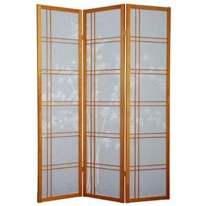 Honey Three-Panel Double Cross Bamboo Tree Shoji Screen