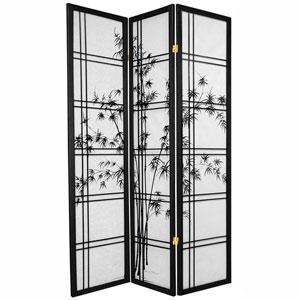 6-Foot Tall Double Cross Bamboo Tree Shoji Screen - Black - 3 Panels