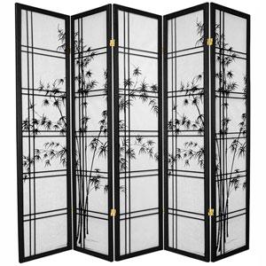 6-Foot Tall Double Cross Bamboo Tree Shoji Screen - Black - 5 Panels