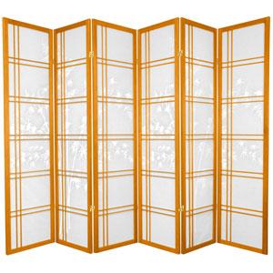 6-Foot Tall Double Cross Bamboo Tree Shoji Screen - Honey - 6 Panels