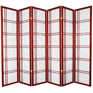 6-Foot Tall Double Cross Bamboo Tree Shoji Screen - Rosewood - 6 Panels