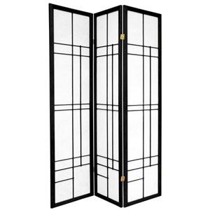 6-Foot Tall Eudes Shoji Screen - Black - 3 Panels