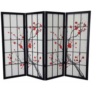 Black Four-Panel 48-Inch Low Cherry Blossom Shoji