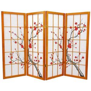 Honey Four-Panel 48-Inch Low Cherry Blossom Shoji