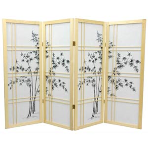 Natural Four-Panel 48-Inch Low Bamboo Tree Shoji