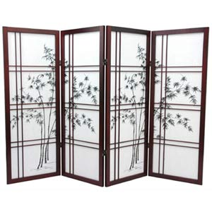 Rosewood Four-Panel 48-Inch Low Bamboo Tree Shoji
