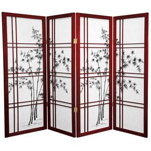 4-Foot Tall Bamboo Tree Shoji Screen - Rosewood - 4 Panels