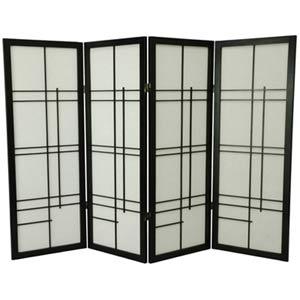 Black Four-Panel 48-Inch Low Eudes Shoji Screen