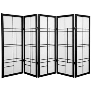Four Ft. Tall Low Eudes Shoji Screen - Black Five Panel, Width - 85 Inches