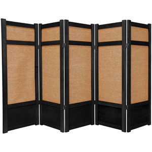 Four Ft. Tall Low Jute Shoji Screen - Black Five Panel, Width - 87.5 Inches