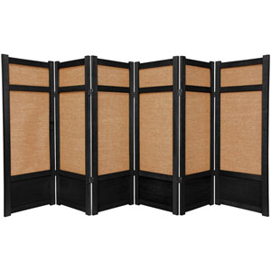 Four Ft. Tall Low Jute Shoji Screen - Black Six Panel, Width - 105 Inches