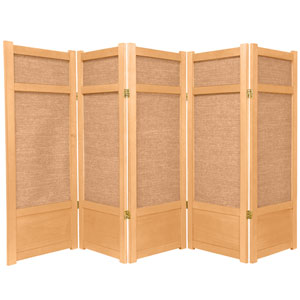 4-Foot Tall Low Jute Shoji Screen - 5 Panel - Natural