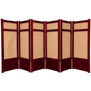 4 ft. Tall Low Jute Shoji Screen - 6 Panel - Rosewood