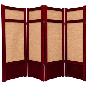 4-Foot Tall Low Jute Shoji Screen - 4 Panel - Rosewood