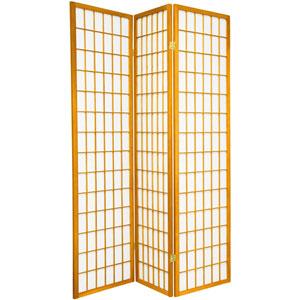 6-Foot Tall Window Pane Shoji Screen - Honey - 3 Panels