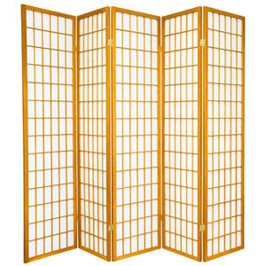 6-Foot Tall Window Pane Shoji Screen - Honey - 5 Panels